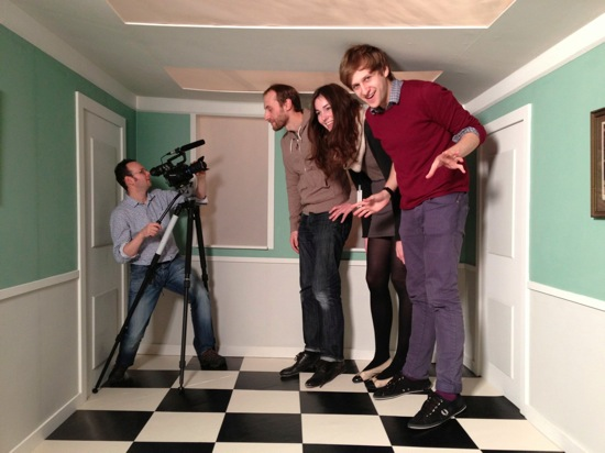 The Ri Channel team. In an Ames Room.
